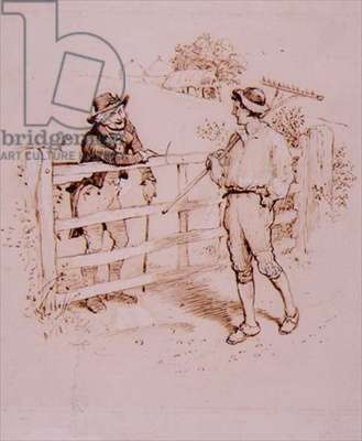The Shepherd, illustration from 'Lancashire Sketches' by Edwin Waugh, pub. by John Heywood, 1881 (pen & ink, w/c on paper)