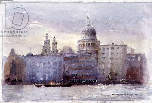 Evening on the Thames, London, 1994 (w/c on paper)