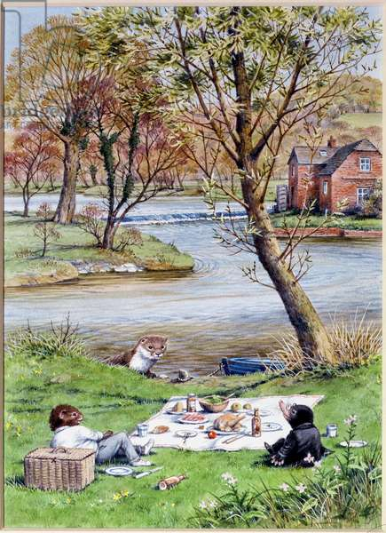 Picnic, illustration from 'The Wind in the Willows' by Kenneth Grahame (w/c on paper)