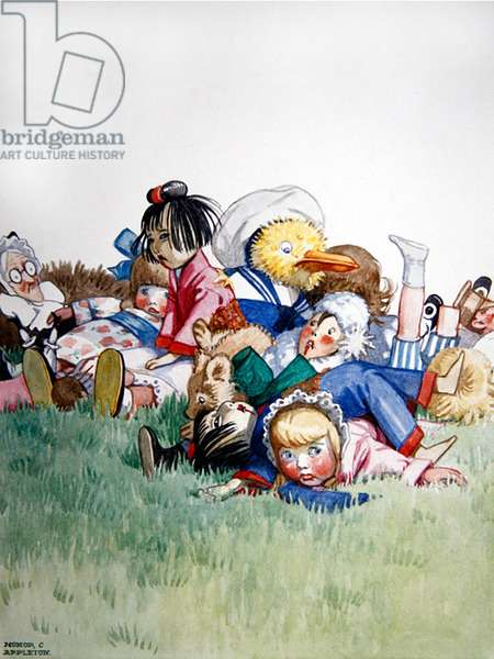 'All in a heap on the lawn', 1927 (w/c with bodycolour on paper)