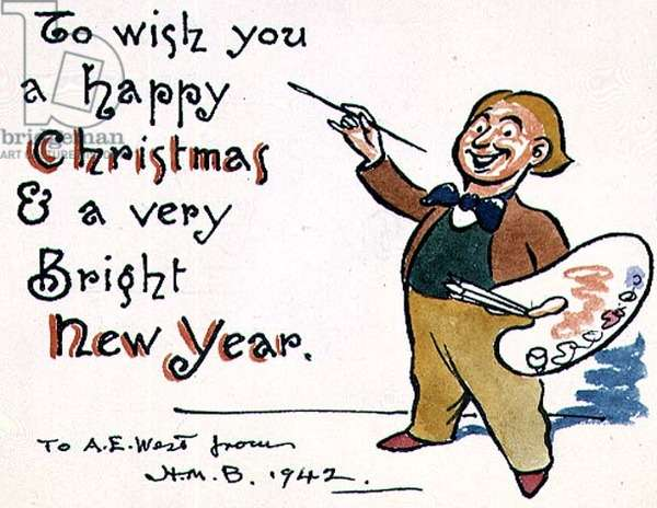 """""""To wish you a Happy Christmas and a very Bright New Year"""", Christmas card, 1942 (pen & ink and w/c)"""