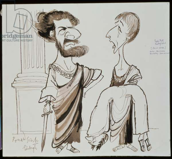 Paul Rogers as Brutus and John Neville as Mark Antony in a performance of 'Julius Caesar' at the Punch Theatre, Edinburgh (pen & ink, w/c on paper)