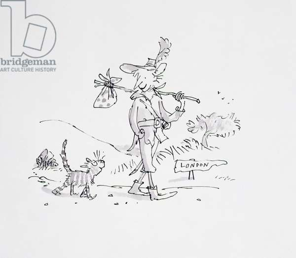 Dick Whittington and his cat, an illustration from 'Rhyme Stew' by Roald Dahl (1916-1990) 1989 (pen and ink, w/c)