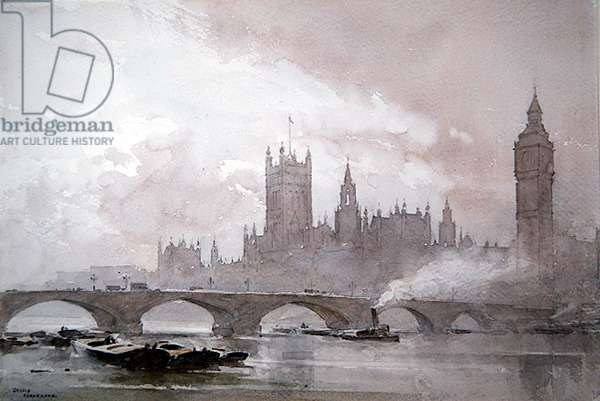 The Thames at Westminster (w/c with pencil on paper)