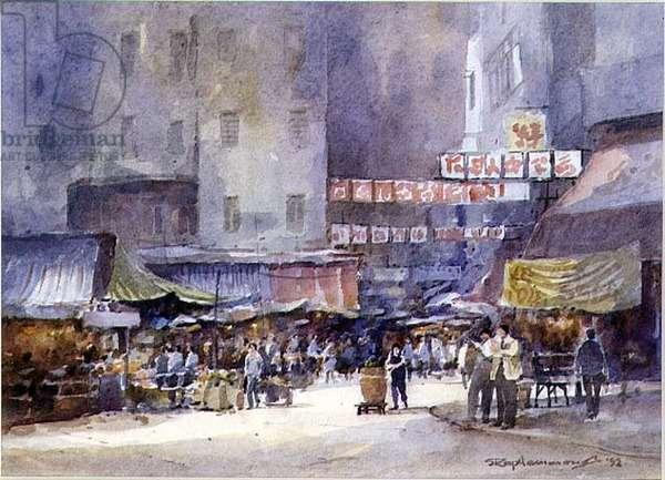 Market Near Victoria Park, Hong Kong, 1992 (w/c on paper)