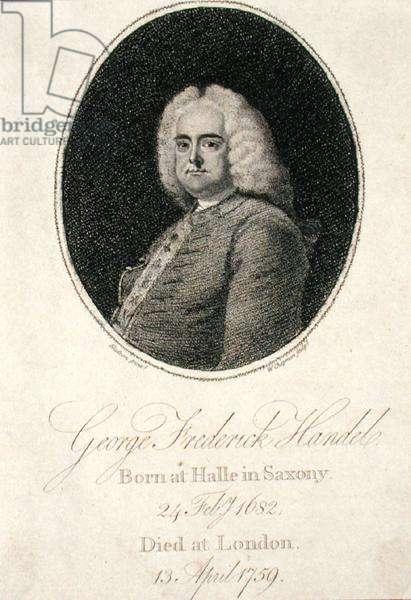 George Frederick Handel (1685-1759) engraved by W. Chapman (engraving)