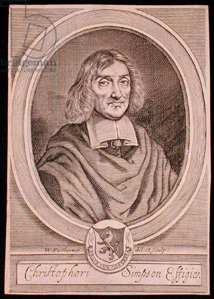 Portrait of Christopher Simpson (c.1605-69) (engraving)