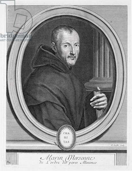 Portrait of Marin Mersenne (1588-1648) engraved by Duflos (engraving)