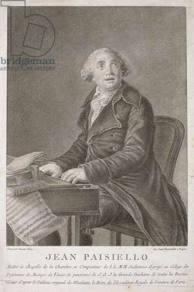 Portrait of Giovanni Paisiello (1782-1840) engraved by Vincent Aloja (engraving)