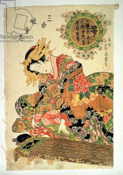 Woman seated with musical instrument, (scroll painting)