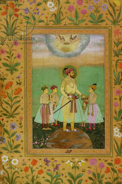 Shah Jahan (1592-1666) Stands on a Large Globe Surrounded by his Four Children, from the Minto Album (vellum)