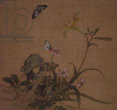 Butterflies and  flowers, (w/c on silk)