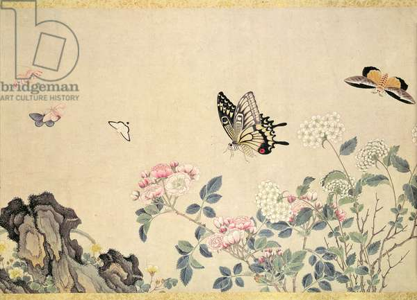 Roses and Insects, (painting, hanging scroll)
