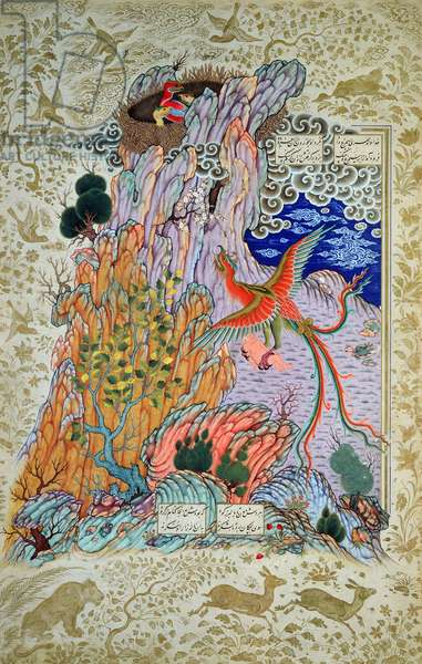 CBL Per 277.12 Zal being rescued by the mythical Simurgh, from a copy of the Shahnama, late 16th century (gouache & w/c on paper)
