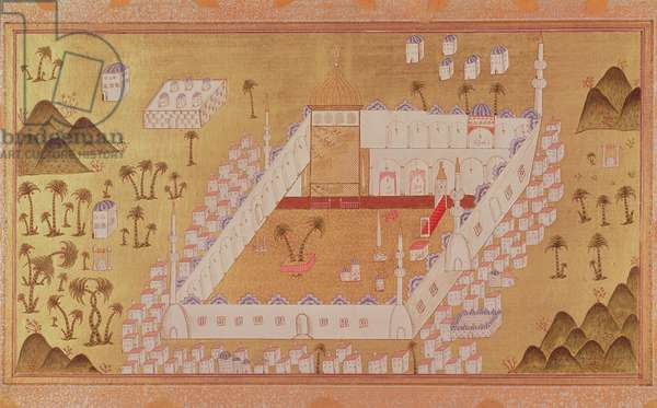 MS 447 View of Medina and mosque of the Prophet Muhammad (opaque pigments on paper)