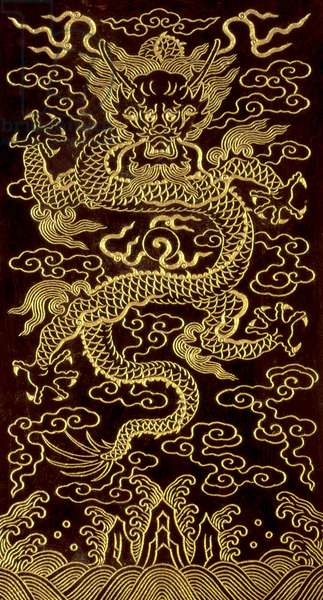 Dragon, cover of the end-folio of a 10 tablet book, 'The Song of the Jade Bowl', written by the Emperor Qianlong, 1745, Chinese (engraved and gilded jade)