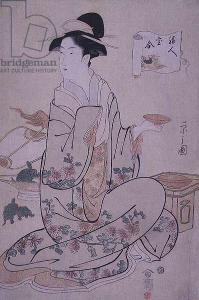 Seated woman with turtles, by Chobunsai Eishi (1756-1829), (colour woodblock print)