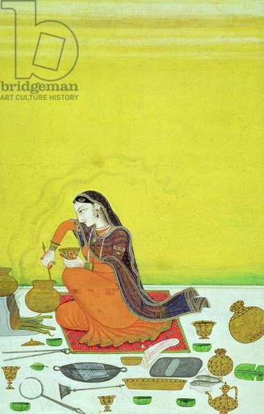 CBL In 11B.30 A Lady Prepares a Meal, miniature from a Bhagavata Purana series, Kangra, c.1810 (gouache on paper)