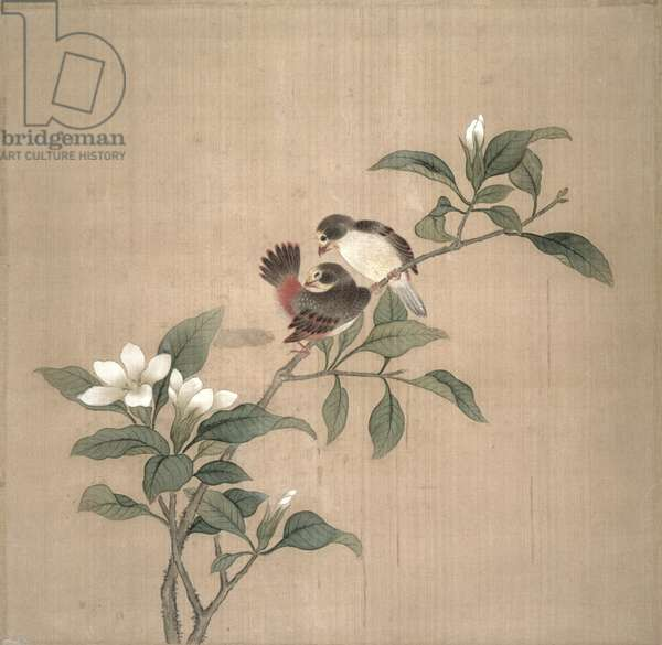 Flowers and birds, (w/c on silk)