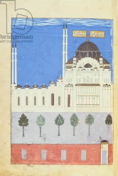 Sulaymaniye Mosque, from the History of Sultan Suleyman, 1579 (illumination)