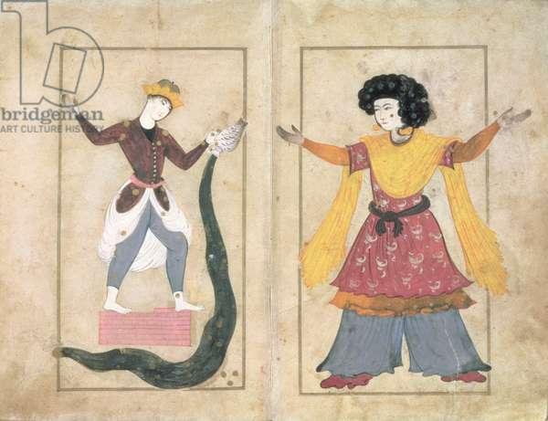 Aquarius and Andromeda Constellations, Folios from the Suvar Al-Kavakib, c.1690 (vellum)
