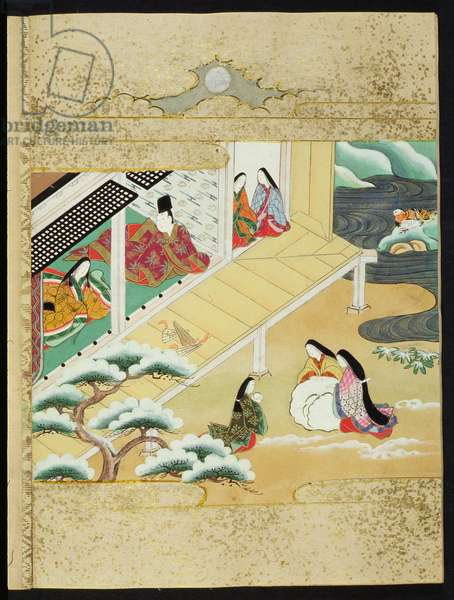 The 'Tale of Genji' ('Genji Monogatari') from the chapter 'Asagao', one of the 54 chapters of the 10th century novel about the romantic life of Prince Genji, pub. 17th century, (colour woodblock print)