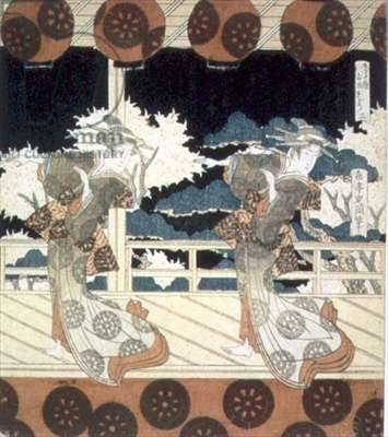 Two Dancers Perform on Stage, from The Dance at Furuichi for the Hisakataya Group series, c.1822 (ink)