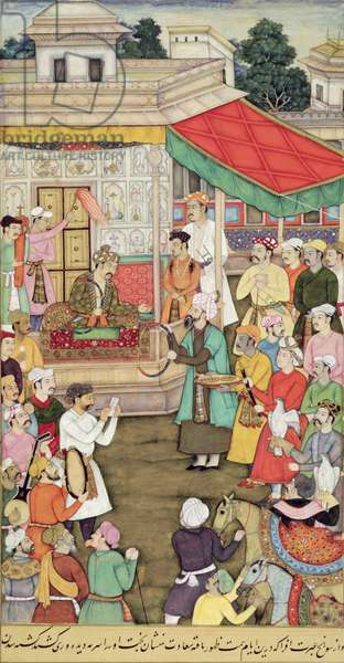 CBL In 03.54 Akbar (r.1556-1605) Receives Gifts from the Ambassadors of Badakhshan, from the 'Akbarnama', c.1605 (gouache on paper)