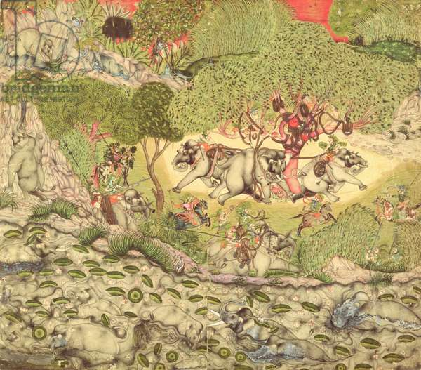 In. 70.14  An Elephant Hunt, c.1740-50 (vellum)