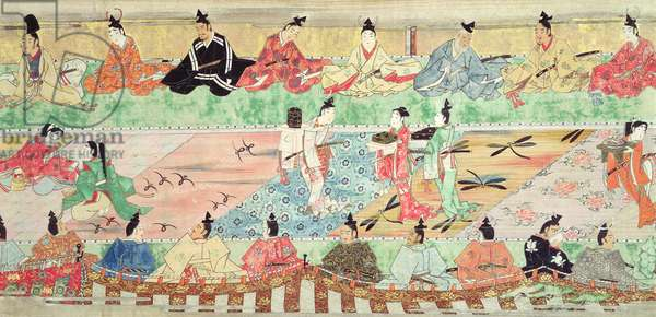 Banquet scene from a painted handscroll of the 'Tale of Muramatsu', early 17th century (pen & ink, w/c, gouache, silver & gold on paper)