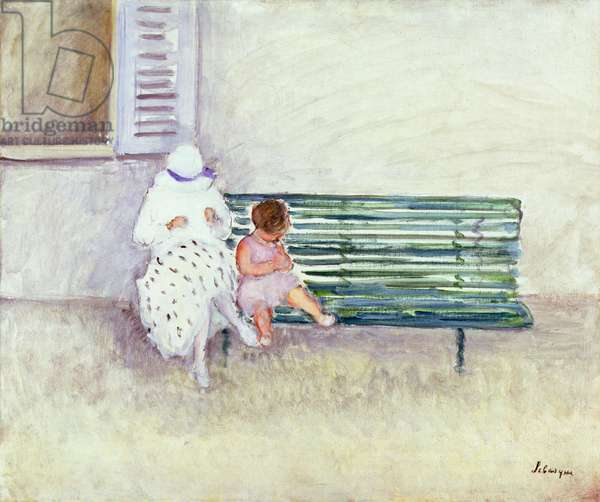 On the Bench (oil on canvas)