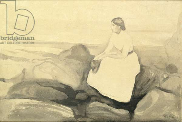 Inger on the Beach, c.1889 (w/c and pencil on paper laid down on card) (see 24717)