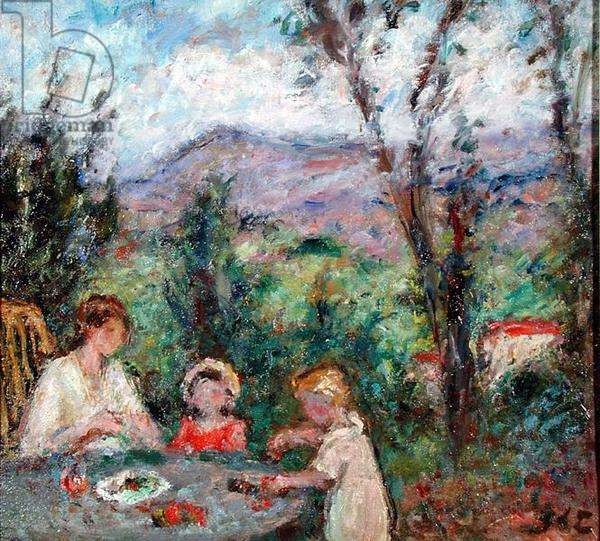 Woman and Children in the Countryside, c.1918 (oil on canvas)