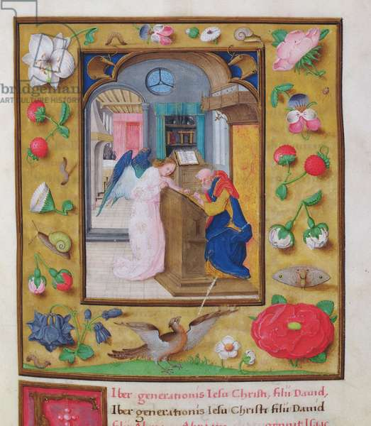 MS CCC 13 f.5 St. Matthew, with details of floriated border, from a New Testament by the humanist scribe Peter Meghen (b.1466-p.1537) Flemish, 16th century (parchment) (for detail see 95530)