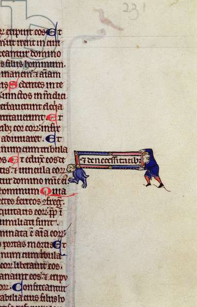 MS CCC 1 f.231 Detail of a page of text with trompe l'oeil effect of two figures moving a textual omission into the main body of the text, from a bible, French, made in Paris, 13th century (parchment)