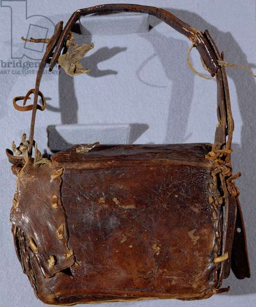 MS CCC 282 The Corpus Christi Book Satchel or Budget, viewed from the back, Irish, c.1120-30 (leather)