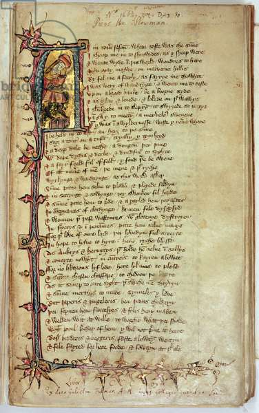 MS CCC 201 f.1 Page of text with historiated initial depicting the dreamer, from 'Piers Plowman' by William Langland (vellum)
