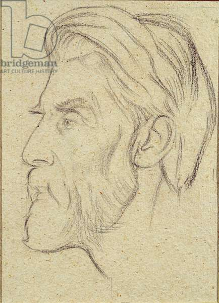 Portrait of Robert Seymour Bridges (1844-1930) Poet Laureate (pencil on paper)