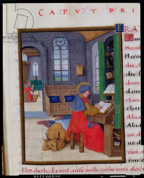 MS CCC 13 f.107 St. Luke, from a New Testament by the humanist scribe Peter Meghen (b.1466-p.1537) Flemish, 16th century (parchment)