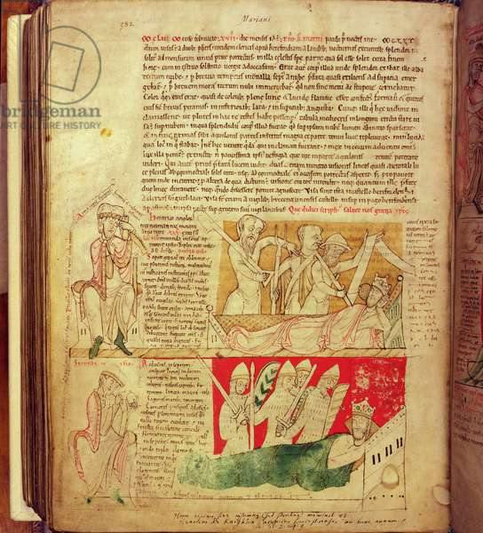 MS CCC 157 p.382 The visions dreamt by King Henry I in Normandy in 1130, from the Worcester Chronicle, c.1130-40 (vellum)