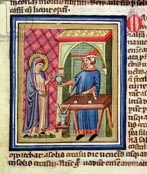 MS CCC 410 f.147 Female holy figure making a purchase at a shop, from an illuminated copy of 'Meditations on the Life of Christ' by St. Bonaventure (1221-74) Italian, mid 14th century (parchment)