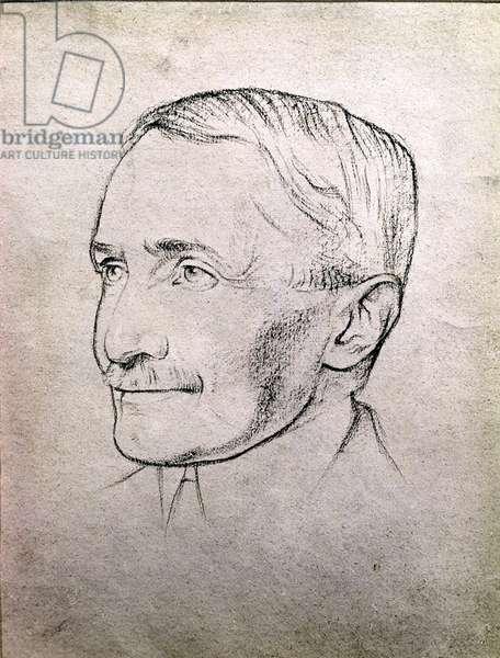 Portrait of Sir Aurel Stein (1862-1943) scholar, explorer and archaeologist, c.1920 (black chalk on paper)