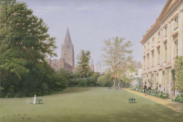 The Garden and Fellows' Building of Corpus Christi College, Oxford (w/c on paper)