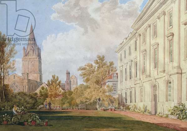 View of Christ Church Cathedral and the Garden and Fellows' Building of Corpus Christi College, Oxford (w/c on paper)