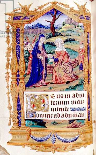 MS CCC 387 f.35 The Visitation, from a Book of Hours of the Virgin, French, late 15th century (parchment)
