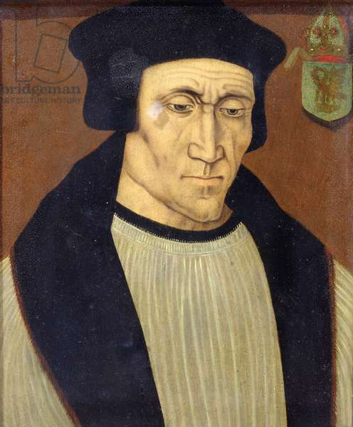 Portrait of Richard Foxe or Fox (c.1448-1528) Bishop of Winchester, Lord Privy Seal to Henry VII and Henry VIII and founder of Corpus Christi College, Oxford (oil on panel)