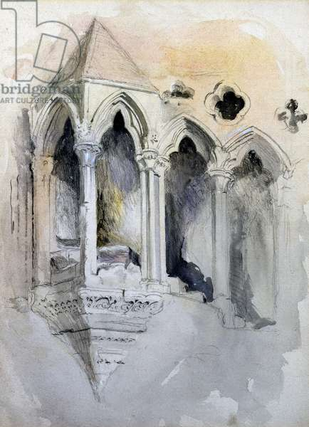 A Gothic Stairway in Chester Cathedral (w/c on paper)