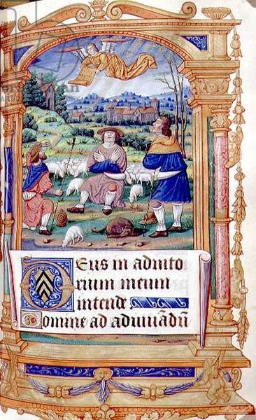 MS CCC 387 f.83 The Annunciation to the Shepherds, from a Book of Hours of the Virgin, French, 15th century (parchment)