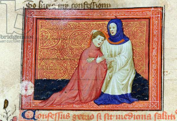 MS CCC 67 f.9v The Lover confides his sins to a Confessor, illumination in the style of Hermann Scheerre, written by John Gower (c.1325-1408) from the 'Confessio Amantis, (early 15th century)' (vellum)