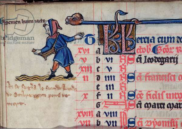 MS CCC 285 f.7v A labourer sowing seed in the fields, illustration for October, from the calendar of a psalter, English, c.1250-75 (parchment)